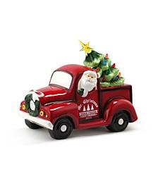 "14"" Lit Nostalgic Ceramic Truck with Tree"