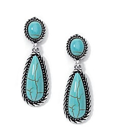 Simulated Turquoise in Fine Silver Plated Drop Dangle Earrings