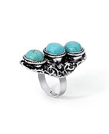 Simulated Turquoise in Fine Silver Plated Triple Stone Adjustable Ring