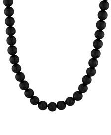 Men's Matte Onyx Bead Necklace in .925 Sterling Silver