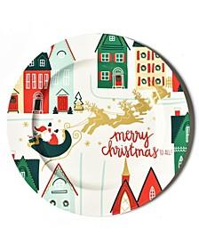 Retro Christmas Village Platter