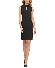 Faux-Leather-Trim Sheath Dress