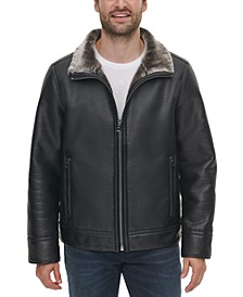 Men's Faux-Leather Jacket with Faux-Fur Lining