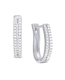 Cubic Zirconia 2-Row Hoop Earrings