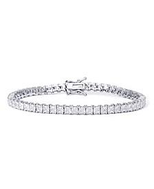 Cubic Zirconia Square Link Tennis Bracelet in Fine Silver Plate
