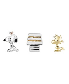 Tri-Tone Snoopy, Woodstock, Dog House Lapel Pin Set, 3 Pieces
