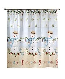"Coastal Snowman 72"" x 72"" Shower Curtain"