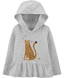 Toddler Girl Leopard Hooded Jersey Tee