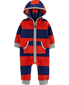 Baby Boy Raccoon Zip-Up Fleece Jumpsuit