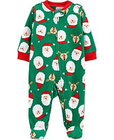 Baby Boy or Girl Christmas Zip-Up Fleece Sleep & Play