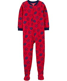 Little Boy 1-Piece Sports Fleece Footie PJs