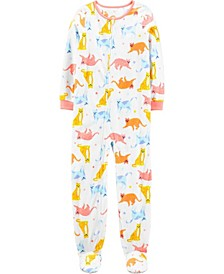 Big Girl 1-Piece Cat Fleece Footie PJs