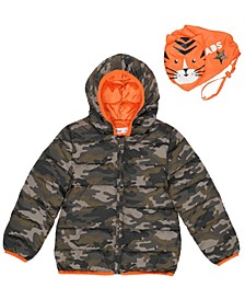 Little Boys Camo Hooded Full Zip Packable Jacket with Tiger Matching Bag