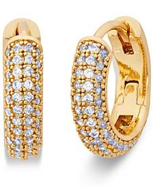 """Gold-Tone Small Pavé Huggie Hoop Earrings, 0.62"""""""