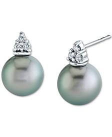 Cultured Tahitian Pearl (9mm) & Diamond (1/8 ct. t.w.) Stud Earrings in 14k White Gold