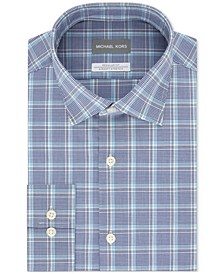 Men's Classic/Regular-Fit Non-Iron Airsoft Performance Stretch Plaid Dress Shirt