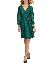 Sequinned Faux-Wrap Dress