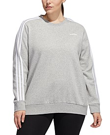 Essentials Plus Size 3 Stripe Fleece Sweatshirt