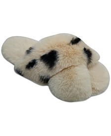 Animal Print Faux-Fur Crossband Slipper