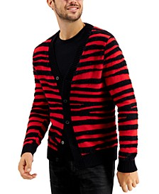 INC Men's Fuzzy Striped Cardigan, Created for Macy's