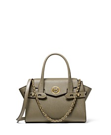 Carmen Small Flap Belted Leather Satchel