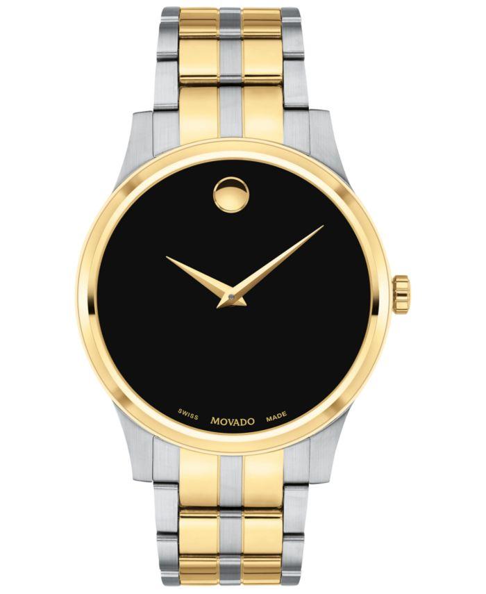 Movado Men's Swiss Gold PVD & Stainless Steel Bracelet Watch 40mm & Reviews - Macy's