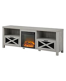 """70"""" Rustic Farmhouse Fireplace TV Stand"""