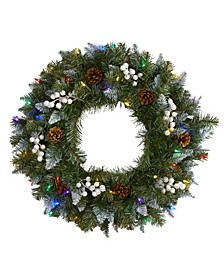 Snow Tipped Artificial Christmas Wreath with 50 LED Lights, Berries and Pine Cones