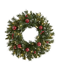 Frosted Artificial Christmas Wreath with 50 Warm LED Lights, Ornaments and Berries