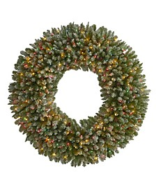Giant Flocked Artificial Christmas Wreath with 280 Lights and Pine Cones