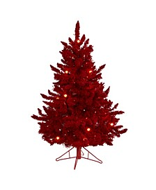 Flocked Fraser Fir Artificial Christmas Tree with 100 Lights, 14 Globe Bulbs and 270 Bendable Branches