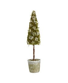 Flocked Moss Artificial Cone Tree in Decorative Planter