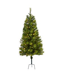 Valley Pine Artificial Christmas Tree with 100 Warm LED Lights and 201 Bendable Branches