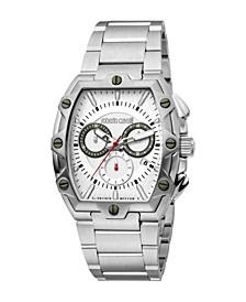 by Franck Muller Men's Swiss Quartz Silver-Tone Stainless Steel Bracelet Watch 40mm