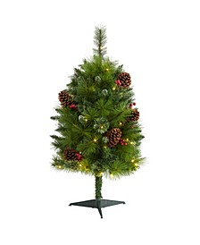 Montana Mixed Pine Artificial Christmas Tree with Pine Cones, Berries and 50 Clear LED Lights