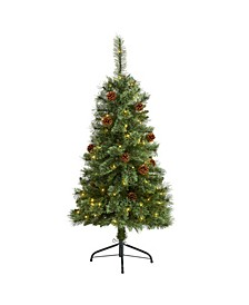 Mountain Pine Artificial Christmas Tree with 100 Clear LED Lights and Pine Cones