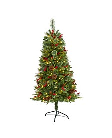 Norway Mixed Pine Artificial Christmas Tree with 200 Clear LED Lights, Pine Cones and Berries