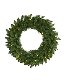 Pine Artificial Christmas Wreath with 35 Clear LED Lights