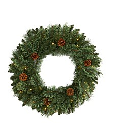 Mountain Pine Artificial Christmas Wreath with 35 LED Lights and Pinecones