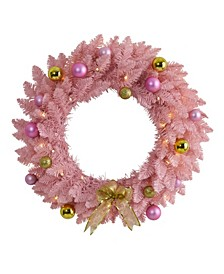 Artificial Christmas Wreath with 35 LED Lights and Ornaments