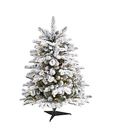 Flocked North Carolina Fir Artificial Christmas Tree with 150 Warm Lights and 545 Bendable Branches