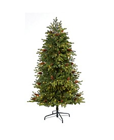 5.Yukon Mountain Fir Artificial Christmas Tree with 250 Clear Lights, Pine Cones and 800 Bendable Branches