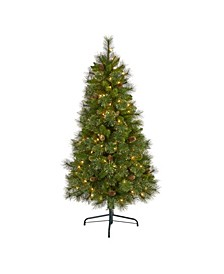 Golden Tip Washington Pine Artificial Christmas Tree with 150 Clear Lights, Pine Cones and 432 Bendable Branches