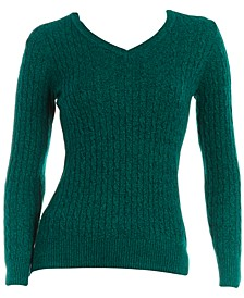 Petite Marl Cable V-Neck Sweater, Created for Macy's