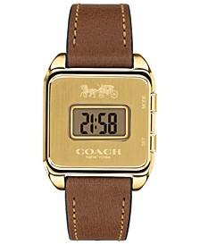 Women's Darcy Digital Saddle Leather Strap Watch 37x30mm