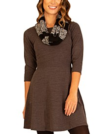 Juniors' Sweater Dress & Scarf