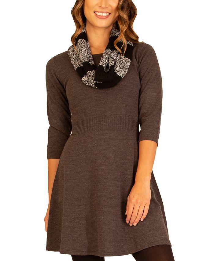 BCX - Juniors' Sweater Dress & Scarf