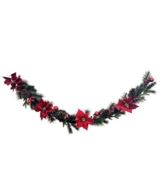 Martha Stewart Red Poinsettia Garland, Created for Macys