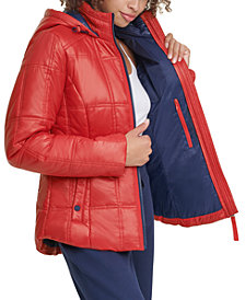Tommy Hilfiger Sport Box-Quilted Hooded Puffer Coat