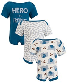 Chick Pea Baby Boy 3-Pack Short Sleeve Hero in Training Bodysuits